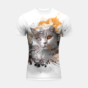 Thumbnail image of cat art #cat #kitty Rashguard krótki rękaw, Live Heroes