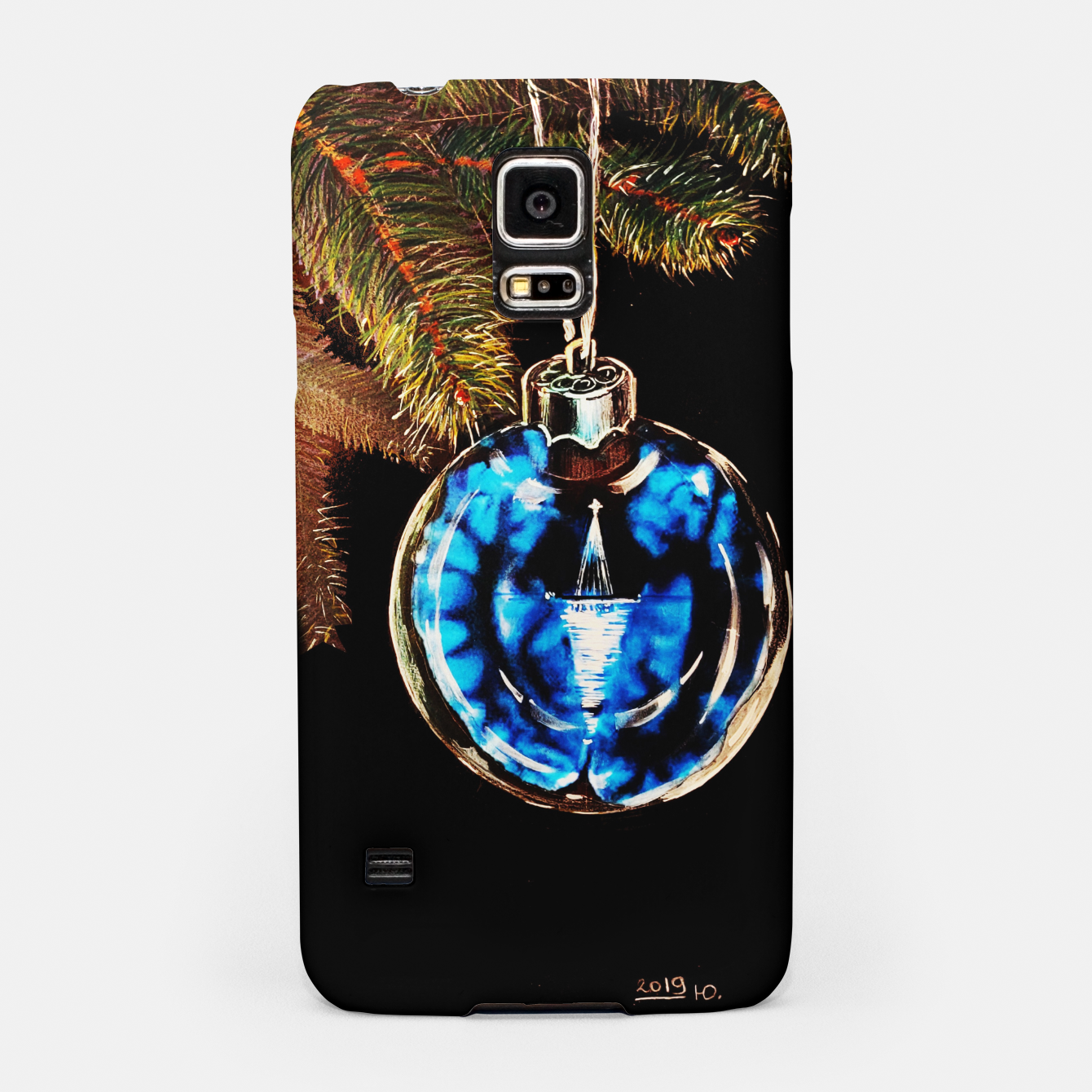 Image of xmas & new year series christmas tree in black and blue yulia a korneva Samsung Case - Live Heroes