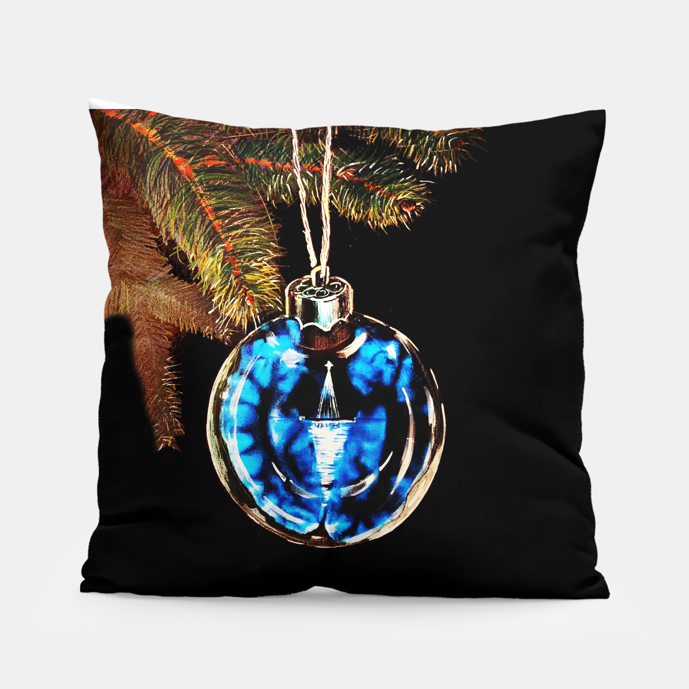 Image of xmas & new year series christmas tree in black and blue yulia a korneva Pillow - Live Heroes