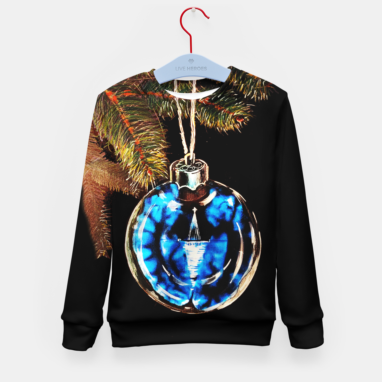 Image of xmas & new year series christmas tree in black and blue yulia a korneva Kid's sweater - Live Heroes