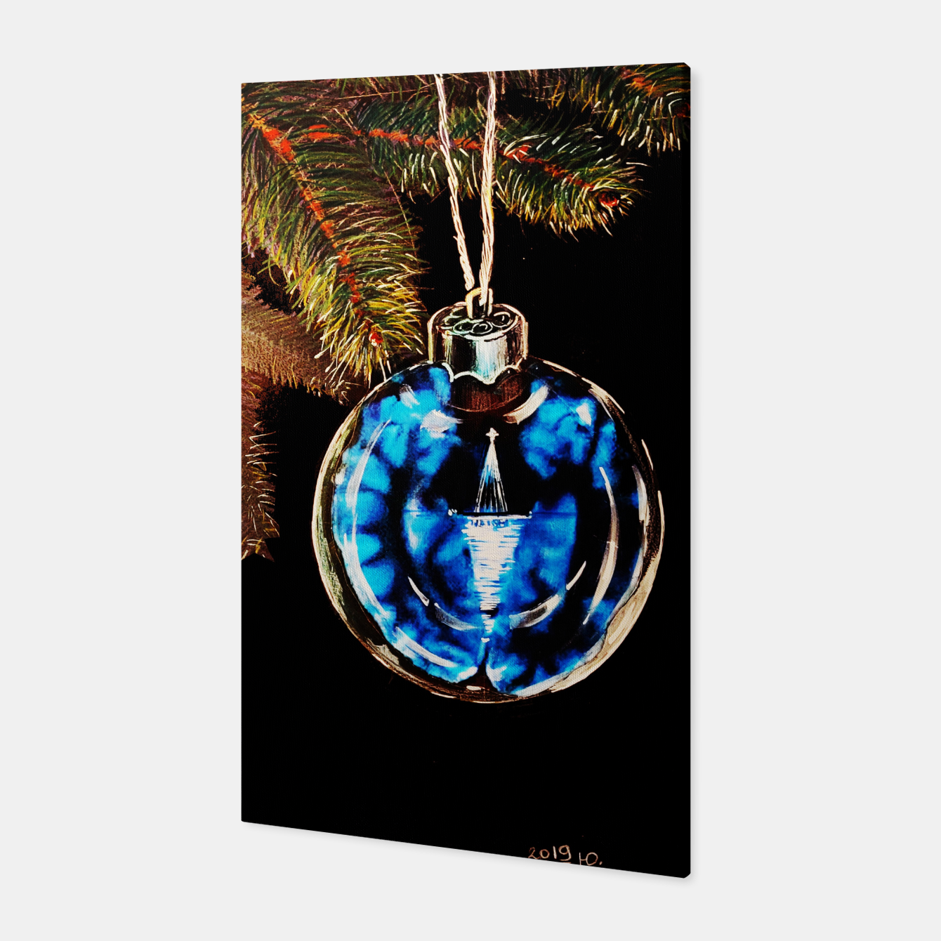 Image of xmas & new year series christmas tree in black and blue yulia a korneva Canvas - Live Heroes