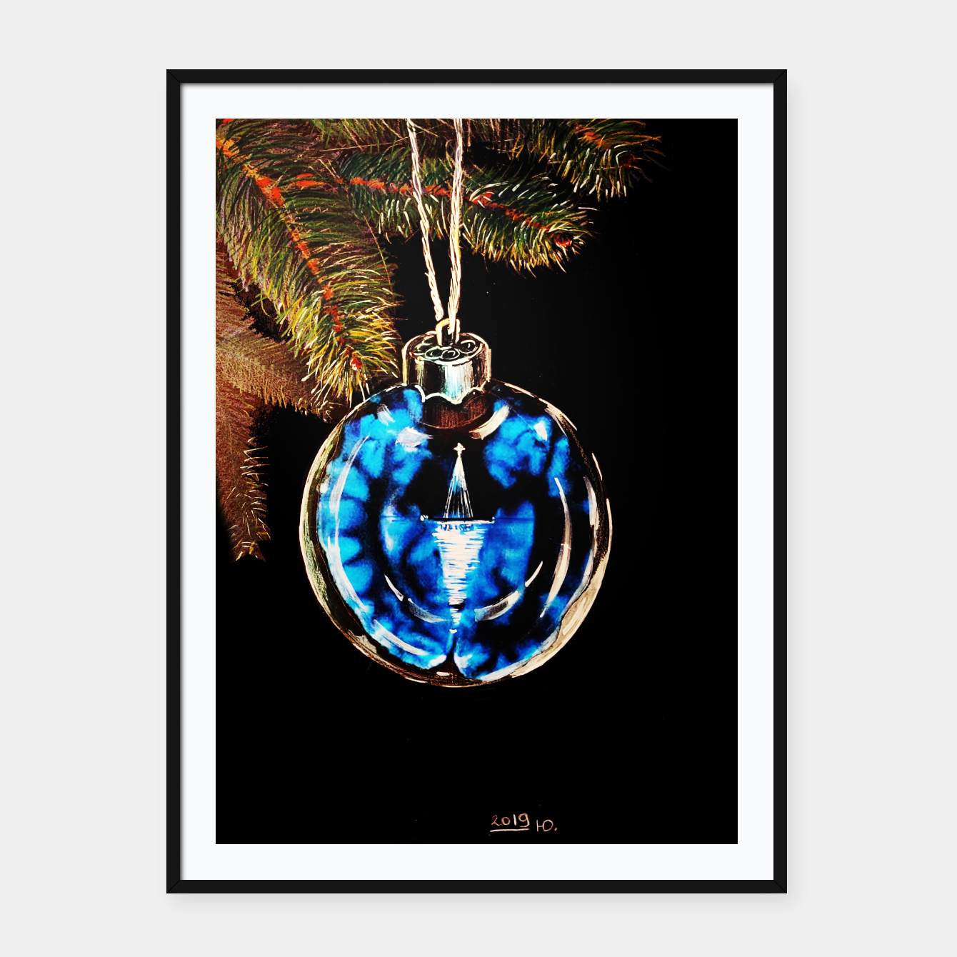 Image of xmas & new year series christmas tree in black and blue yulia a korneva Framed poster - Live Heroes