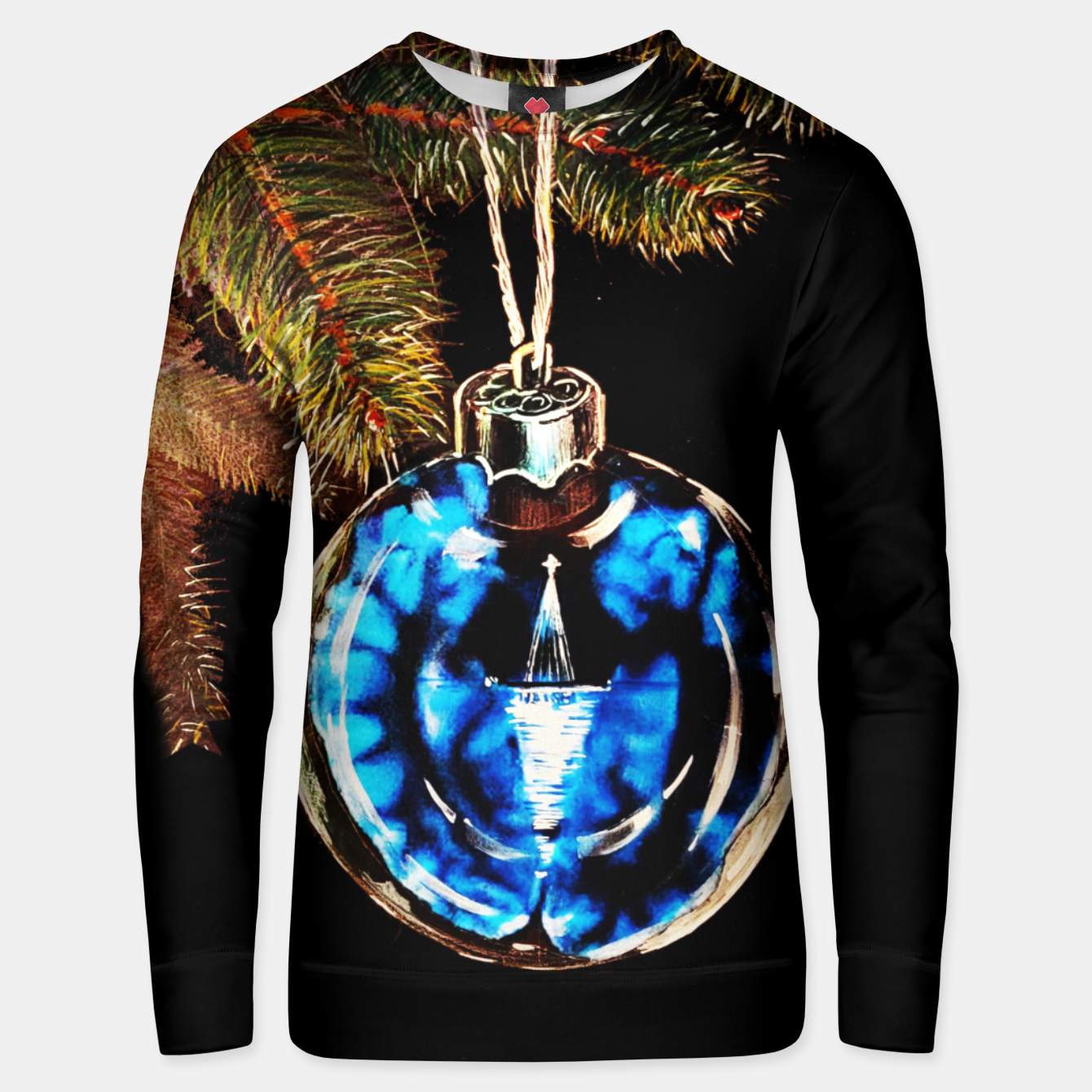 Image of xmas & new year series christmas tree in black and blue yulia a korneva Unisex sweater - Live Heroes