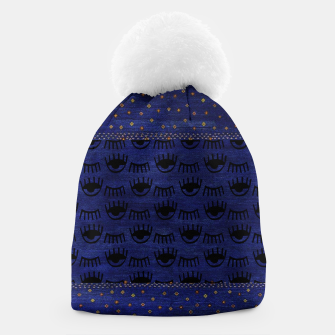 Thumbnail image of Blue Indigo Moroccan Traditional Artwork Beanie, Live Heroes