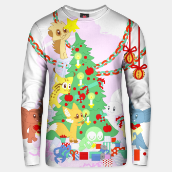 Miniatur Dressing the Yule Tree - cartoon animals Unisex sweater, Live Heroes