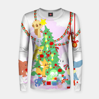 Miniatur Dressing the Yule Tree - cartoon animals Women sweater, Live Heroes