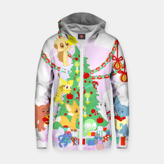 Miniatur Dressing the Yule Tree - cartoon animals Zip up hoodie, Live Heroes