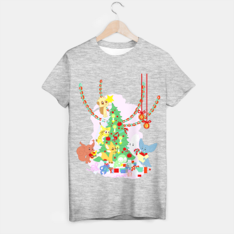 Miniatur Dressing the Yule Tree - cartoon animals T-shirt regular, Live Heroes