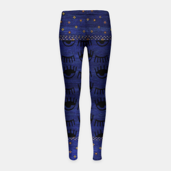 Miniaturka Blue Indigo Moroccan Traditional Artwork Girl's leggings, Live Heroes