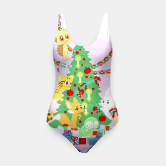Miniatur Dressing the Yule Tree - cartoon animals Swimsuit, Live Heroes