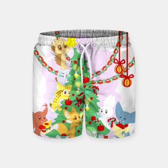 Miniatur Dressing the Yule Tree - cartoon animals Swim Shorts, Live Heroes