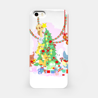 Miniatur Dressing the Yule Tree - cartoon animals iPhone Case, Live Heroes