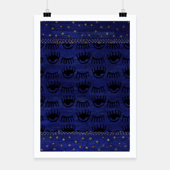 Thumbnail image of Blue Indigo Moroccan Traditional Artwork Poster, Live Heroes
