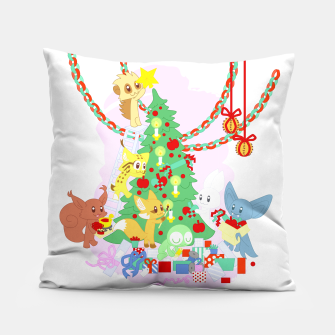 Miniatur Dressing the Yule Tree - cartoon animals Pillow, Live Heroes
