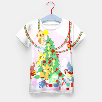 Miniatur Dressing the Yule Tree - cartoon animals Kid's t-shirt, Live Heroes