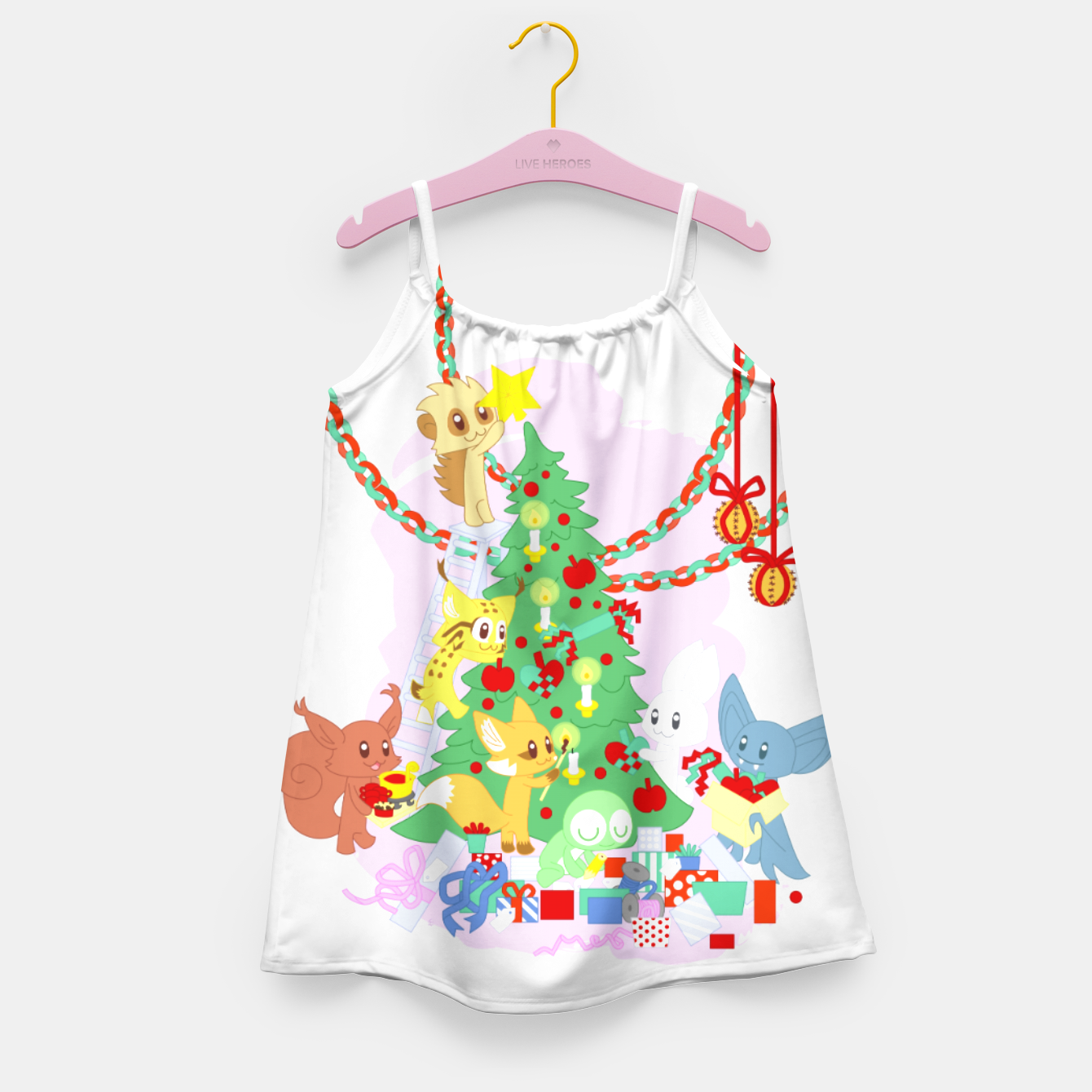 Image of Dressing the Yule Tree - cartoon animals Girl's dress - Live Heroes