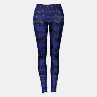 Miniaturka Blue Indigo Moroccan Traditional Artwork Leggings, Live Heroes