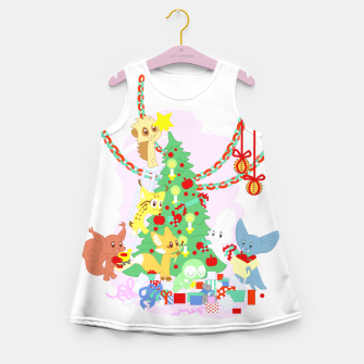 Miniatur Dressing the Yule Tree - cartoon animals Girl's summer dress, Live Heroes