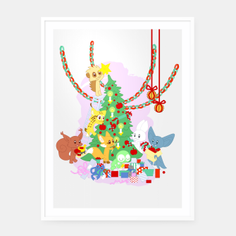 Miniatur Dressing the Yule Tree - cartoon animals Framed poster, Live Heroes