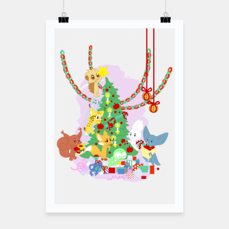 Miniatur Dressing the Yule Tree - cartoon animals Poster, Live Heroes