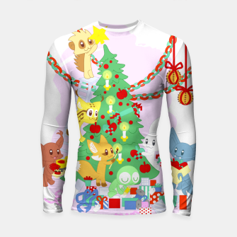 Miniatur Dressing the Yule Tree - cartoon animals Longsleeve rashguard , Live Heroes