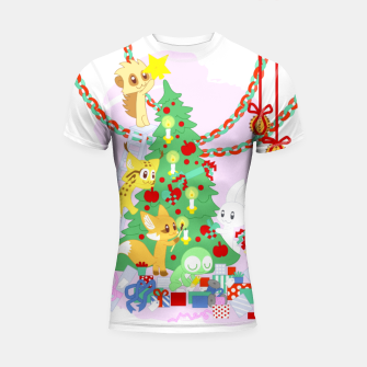 Miniatur Dressing the Yule Tree - cartoon animals Shortsleeve rashguard, Live Heroes