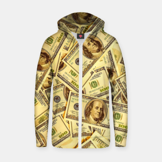 Thumbnail image of Franklin Hundred Dollar Bills Zip up hoodie, Live Heroes
