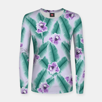 Tropical Banana Leaves Flower Jungle #3 #tropical #decor #art Frauen sweatshirt obraz miniatury