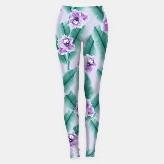 Tropical Banana Leaves Flower Jungle #3 #tropical #decor #art Leggings obraz miniatury