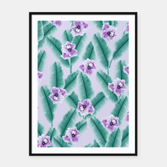 Tropical Banana Leaves Flower Jungle #3 #tropical #decor #art Plakat mit rahmen obraz miniatury
