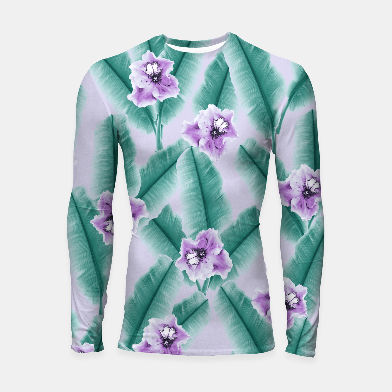 Zdjęcie Tropical Banana Leaves Flower Jungle #3 #tropical #decor #art Longsleeve rashguard - Live Heroes
