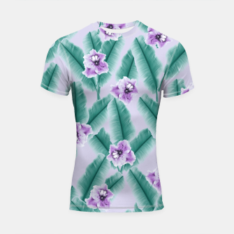 Thumbnail image of Tropical Banana Leaves Flower Jungle #3 #tropical #decor #art Shortsleeve rashguard, Live Heroes