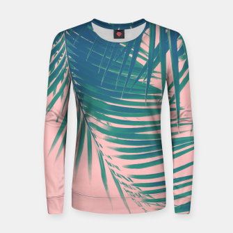 Palm Leaves Blush Summer Vibes #2 #tropical #decor #art Frauen sweatshirt Bild der Miniatur