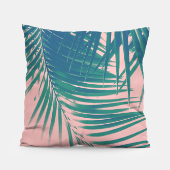 Palm Leaves Blush Summer Vibes #2 #tropical #decor #art Kissen Bild der Miniatur
