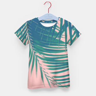 Palm Leaves Blush Summer Vibes #2 #tropical #decor #art T-Shirt für kinder Bild der Miniatur
