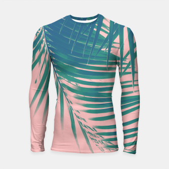 Palm Leaves Blush Summer Vibes #2 #tropical #decor #art Longsleeve rashguard Bild der Miniatur
