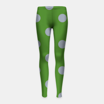 Imagen en miniatura de Vintage grey dots on green Leggings para niña, Live Heroes