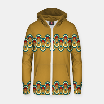 Thumbnail image of Vintage paon on beige Sudadera con capucha y cremallera , Live Heroes