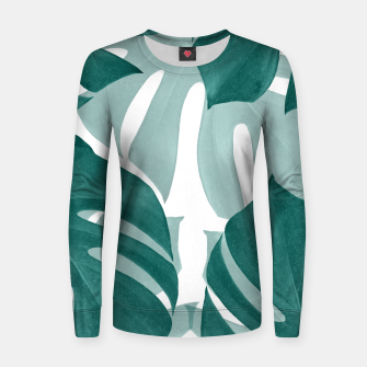 Thumbnail image of Monstera Leaves Vibes #1 #tropical #foliage #decor #art Frauen sweatshirt, Live Heroes