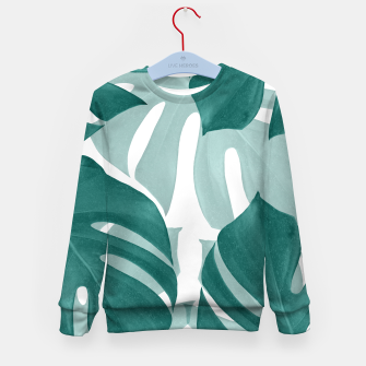 Miniaturka Monstera Leaves Vibes #1 #tropical #foliage #decor #art Kindersweatshirt, Live Heroes