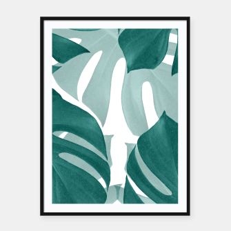Thumbnail image of Monstera Leaves Vibes #1 #tropical #foliage #decor #art Plakat mit rahmen, Live Heroes