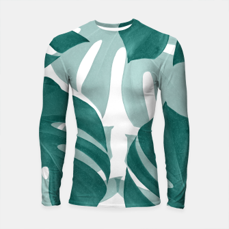 Monstera Leaves Vibes #1 #tropical #foliage #decor #art Longsleeve rashguard obraz miniatury