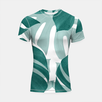 Monstera Leaves Vibes #1 #tropical #foliage #decor #art Shortsleeve rashguard obraz miniatury