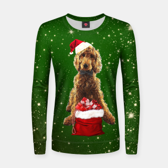 Imagen en miniatura de Christmas Dog Golden Doodle Women sweater, Live Heroes