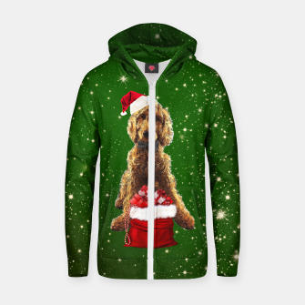 Thumbnail image of Christmas Dog Golden Doodle Zip up hoodie, Live Heroes