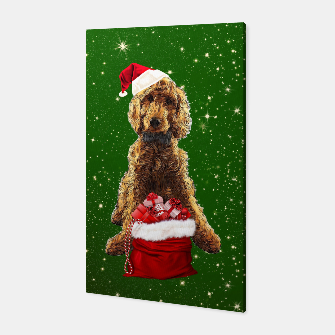 Image of Christmas Dog Golden Doodle Canvas - Live Heroes