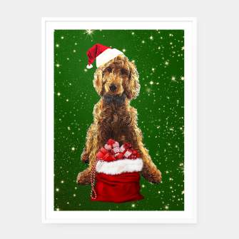 Thumbnail image of Christmas Dog Golden Doodle Framed poster, Live Heroes