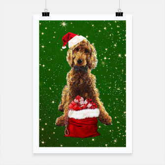Thumbnail image of Christmas Dog Golden Doodle Poster, Live Heroes