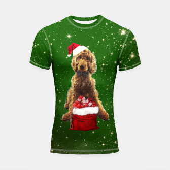 Thumbnail image of Christmas Dog Golden Doodle Shortsleeve rashguard, Live Heroes