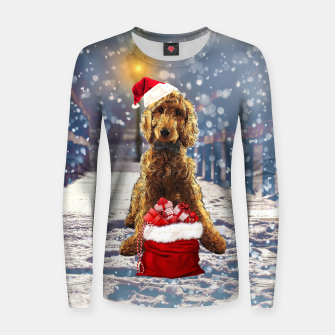 Thumbnail image of Christmas Golden Doodle Women sweater, Live Heroes